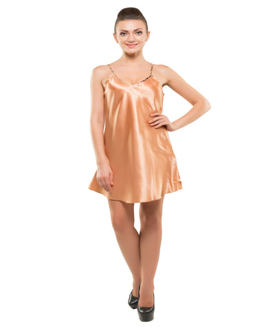 Kunchals-2Pes Short Nighty With Gaoun Golden+Mix Night Wear-K75-3610