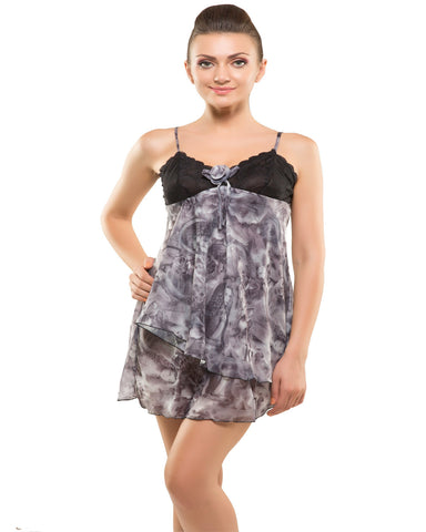 Kate-Singlle Short Frock Style Grey Nighty-K75-3613