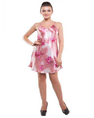 Kunchals-2Pes Short Nighty With Gaoun Pink Night Wear-K75-3619