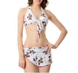 K55-1051 White+Brown Swinmwear
