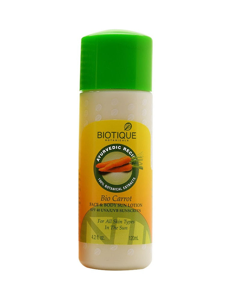 biotique bio carrot face and body sun lotion spf 40 120ml kunchals