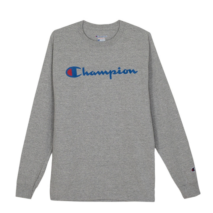 CHAMPION: COTTON L/S W/ GRAPHIC CENTER (OXFORD GREY)