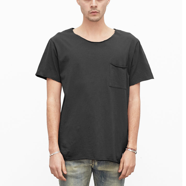 Profound Aesthetic: Basic Raw-Cut Shorts Sleeve Tee (Matte Black)