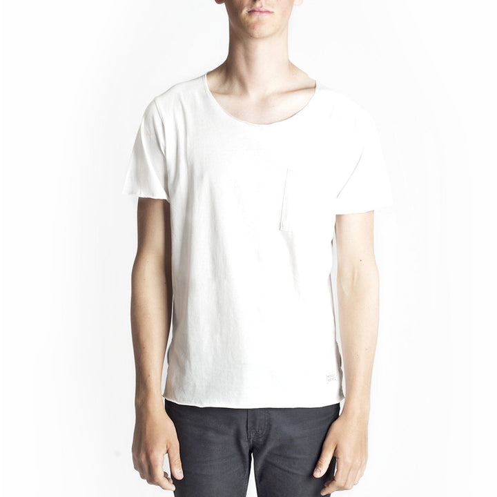 Profound Aesthetic: Basic Raw-Cut Short Sleeve Tee (Off White)