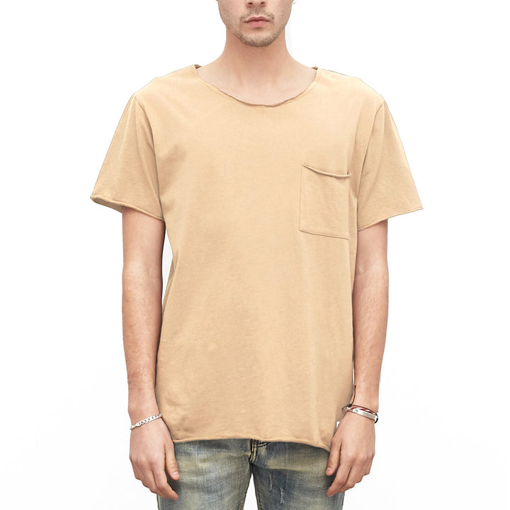 Profound Aesthetic: Basic Raw-Cut Short Sleeve Tee (Sand)