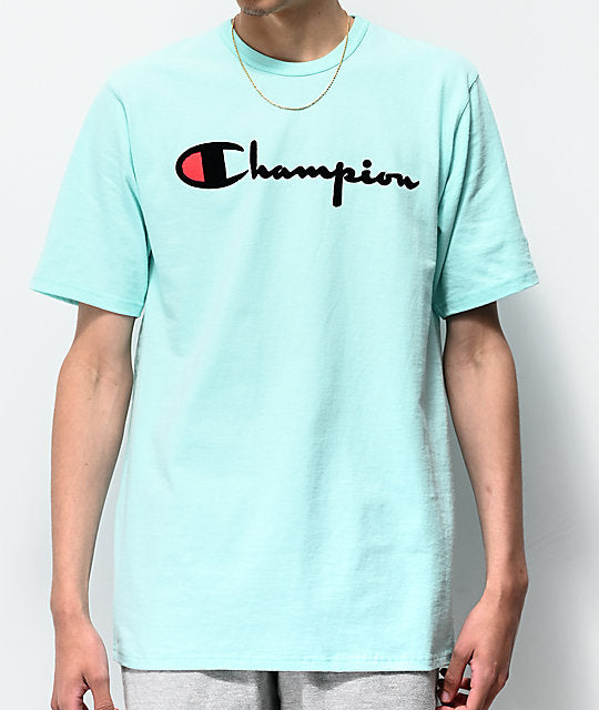 CHAMPION: HERITAGE DIRECT FLOCK TEE (WATERFALL GREEN)