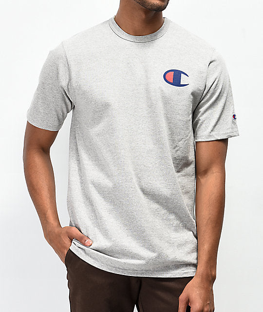 CHAMPION: HERITAGE TEE PATRIOTIC C LOGO (OXFORD GREY)