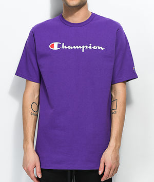 CHAMPION TOP: HERITAGE TEE - EMB SCRIPT (PURPLE)