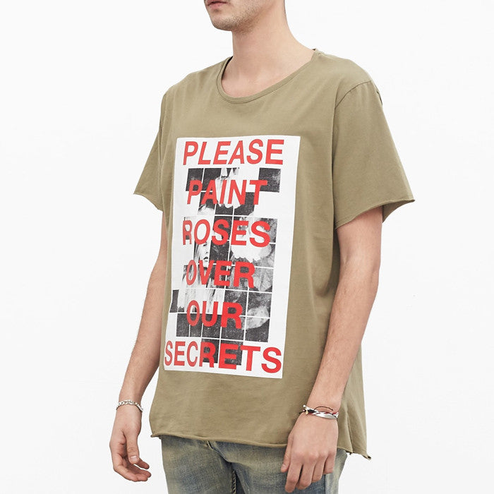 Profound Aesthetic: Painted Roses Tee (Olive)