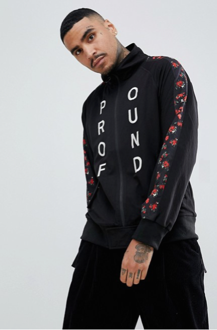 Profound Aesthetics: Red Rose Zip Up Track Suit Jacket (Black)