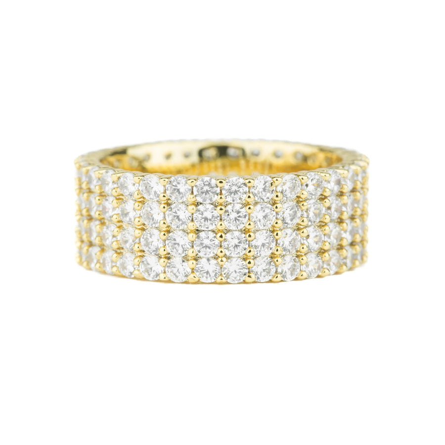 The Gold Gods: Diamond 4-Row Stacked Eternity Ring Gold