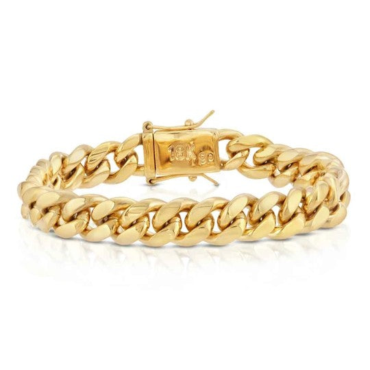 The Gold Gods: 10mm Miami Cuban Link Bracelet Gold - 7.5 inches
