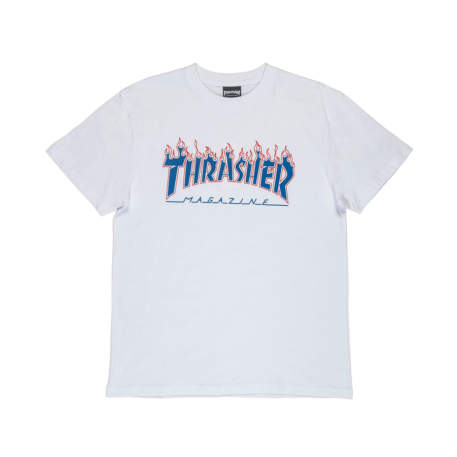Thrasher : Blue Flame S/S T-Shirt (White)