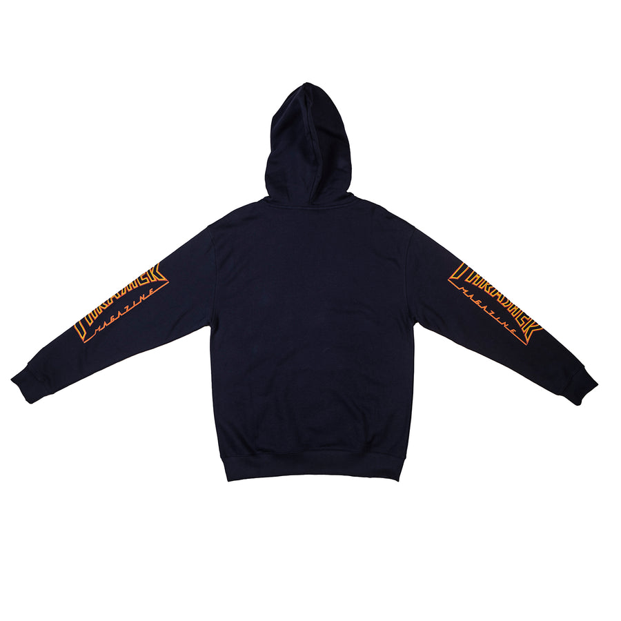 Thrasher : Flame Outline Pocket Hooded Sweatshirt (Navy)