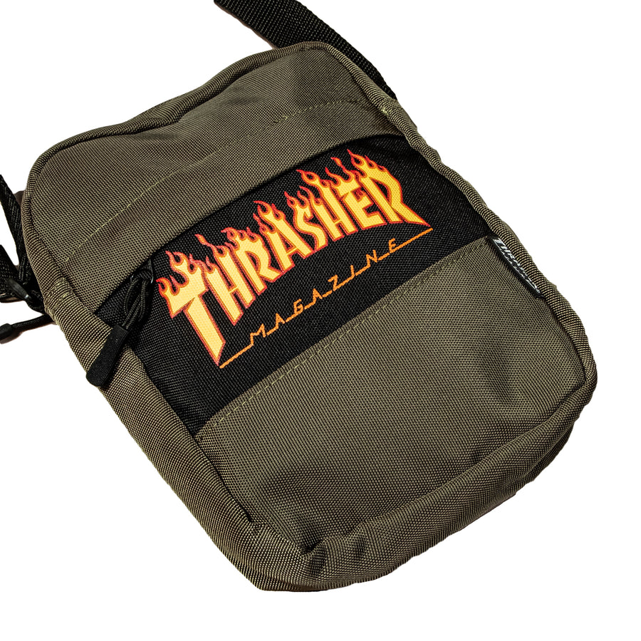 Thrasher : Flame Mini Shoulder Bag Small Logo (Olive)