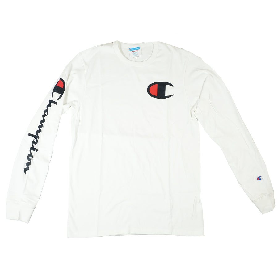 Champion: Big-C Logo Ink Long Sleeve (White)