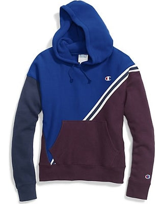 b578b75f87f7 CHAMPION WOMENS REVERSE WEAVE COLORBLOCK PULLOVER HOOD (SURF PURPLE INDIGO)