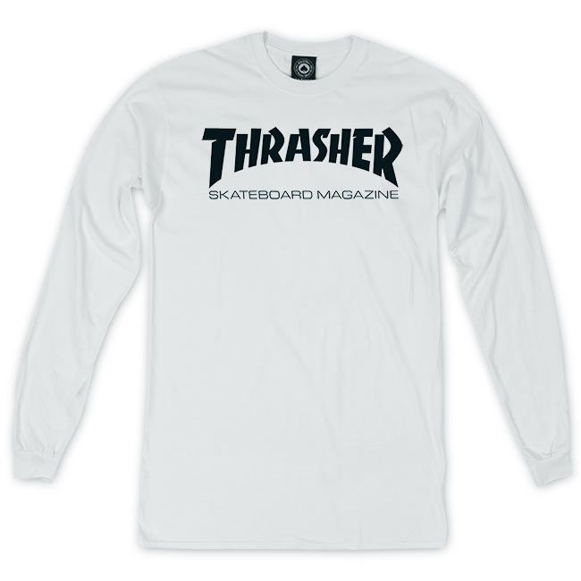 THRASHER TOP : SKATE MAG LONG SLEEVE (WHITE)