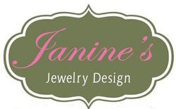 Janine's Jewelry Design Logo in Forest green and Candy Pink in a crest/cloud shape design