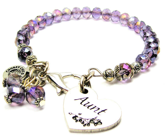 Aunt Heart Splash Of Color Crystal Bracelet, Aunt Bangle Bracelet