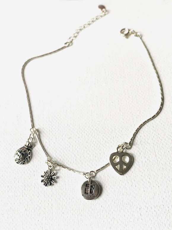 Sterling Silver Chain Anklet with Disk Charm