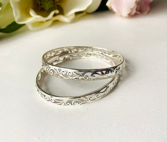 Silver Filigree Bangle Bracelet, Victorian Bangle Bracelet, Filigree, Silver Bangle