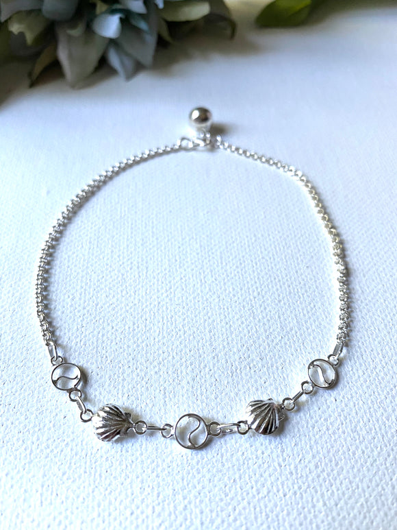 Sterling Shell Beaded Anklet, Sterling Silver Chain, Sterling Anklet
