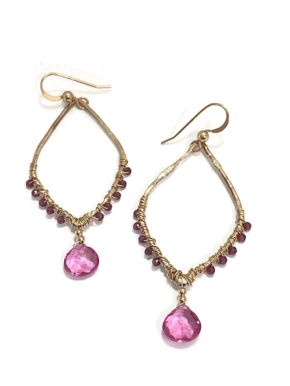 Marquise Gold Filled Pink Quartz Earrings