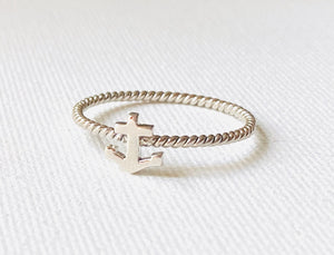 Sterling Silver Nautical Anchor Twist Ring, Anchor Ring, Sailing Ring, Sea Ring, Silver stacking ring