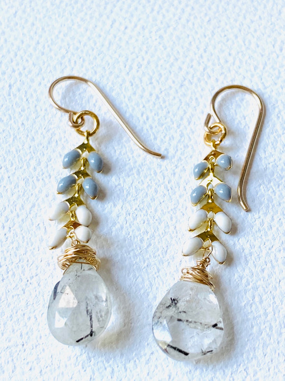 Rutilated Quartz Chevron Earrings, chevron Earrings, Gemstone Earrings