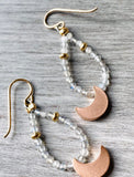 Moon Teardrop Hoop Earrings