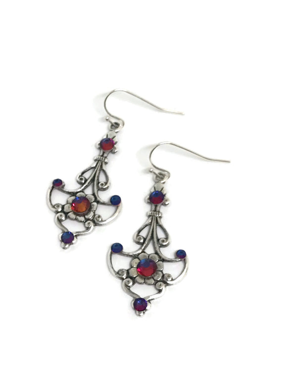 Silver Antiqued Filigree Swarovski Crystal Drop Earrings