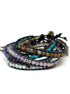 Power Gemstone Leather Bracelet, Single leather wrap gemstone bracelet-Power Bracelet