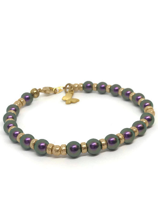 Gold filled beads and Purple Swarovski Pearl Bracelet with Butterfly