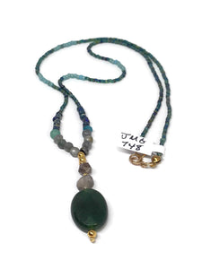 Aventurine, Labradorite Long Beaded Necklace