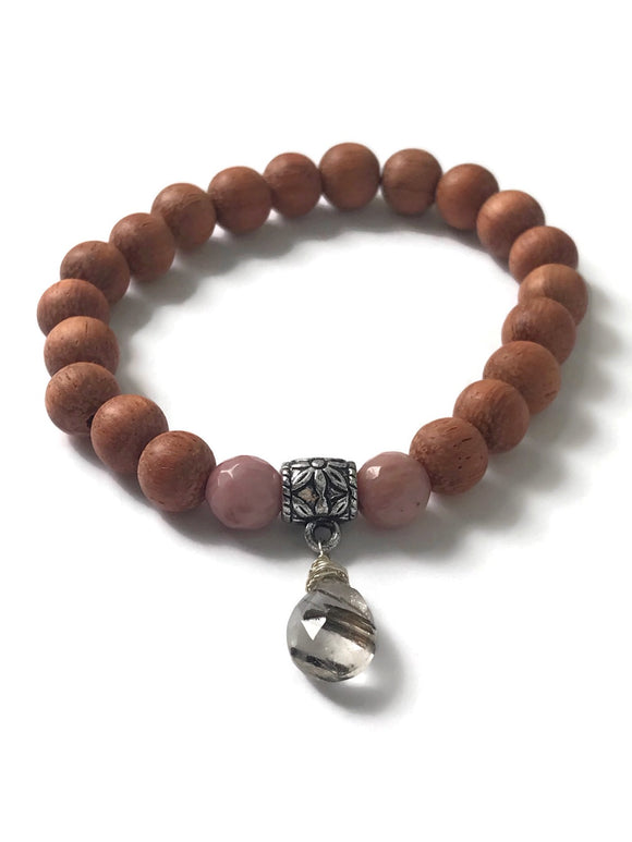 Rhodonite Bracelet with Rutilated Quartz, Rhodonite Rutilated Quartz Bracelet