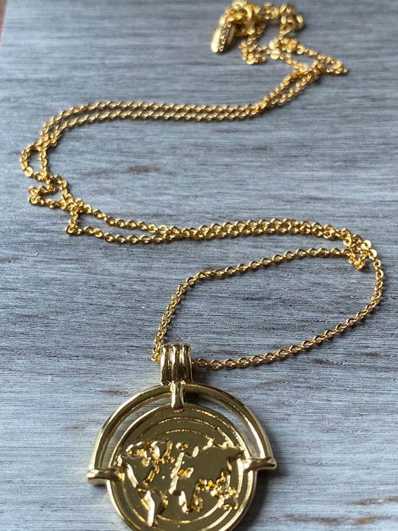 Travelers Necklace, Travelers medallion, Gift, Gold Filled Travelers Medallion