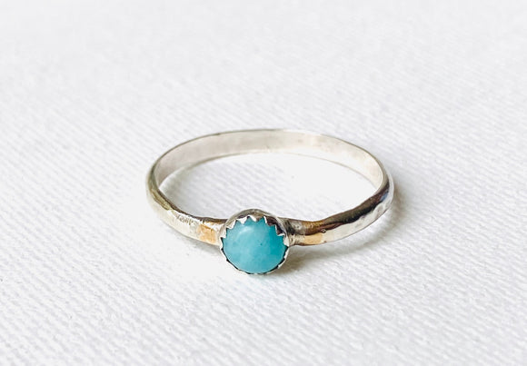 Larimar Gold Silver Ring, US Size 9 5 mm Larimar smooth stone