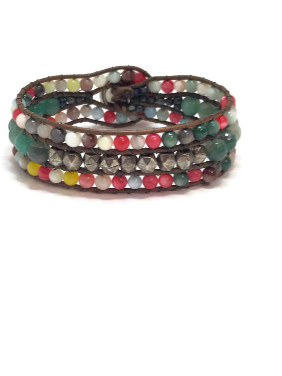 "small 6.5"" Leather and multi Gemstone Cuff, Leather Cuff, Woven Boho Cuff"
