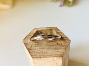 Sterling Silver Feather Ring, Feather Stacking Ring,