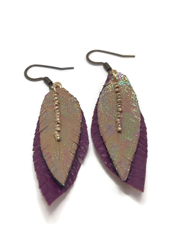 Vegan Gold Beaded Earrings- Vegan Leather Earrings