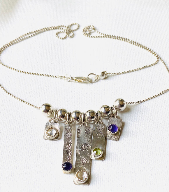Sterling Silver Bar Gemstone Necklace