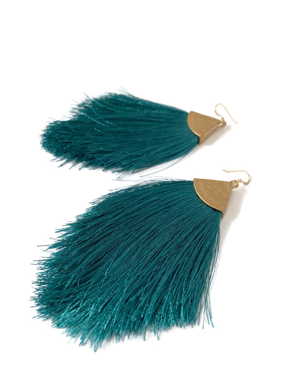 Silk Tassel Teal Earrings-Statement Earrings