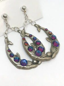 Dolphin Filigree Crystal Earrings, Rainbow Crystal Earrings