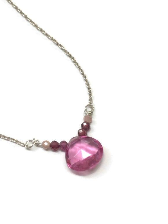 Pink Hydro Quartz Puffy Teardrop Gemstone Necklace-Dainty Sterling Necklace
