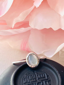 Mother of Pearl Ring, Size 6.5  Stacking Mother of Pearl Ring with thin sterling band.