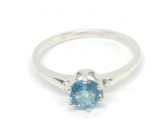 Topaz Ring- London Blue Topaz-Sterling silver Rings-US Size 7 Ring