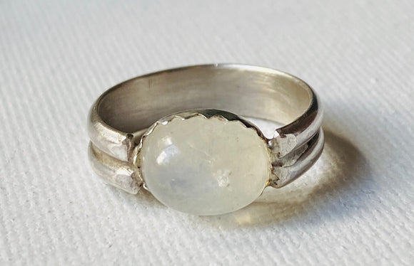 Moonstone Oval Size 5 Ring, Double Band Ring, Moonstone Oval Silver Ring