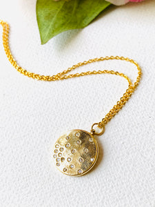 Scattered Star Medallion/ Gold filled Scattered Star Cubic Zirconia Medallion