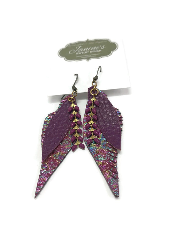 Vegan Leather Feather Earrings